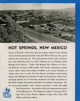 vintage brochure on Hot Springs New Mexico