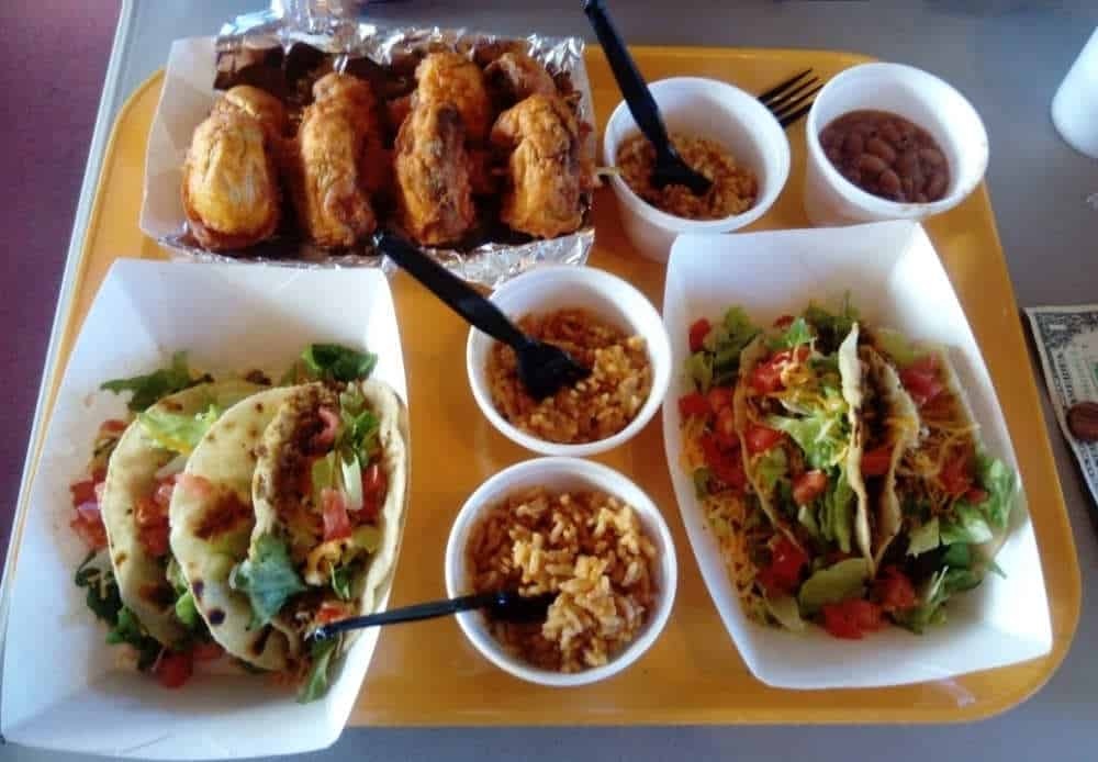 Casa Taco fried mushrooms, tacos, beans, rice