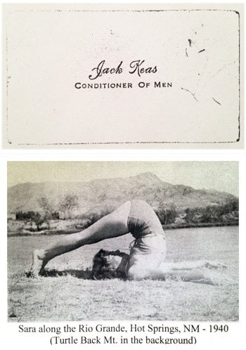 Jack Keas business card and Sara Keas in the Turtle Mountain pose