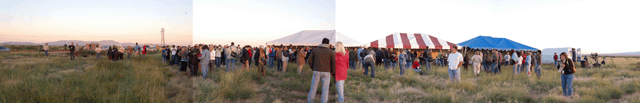 visitors to an early launch at the New Mexico Spaceport