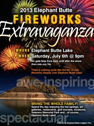 July 4 Fireworks at Elephant Butte Lake 2013