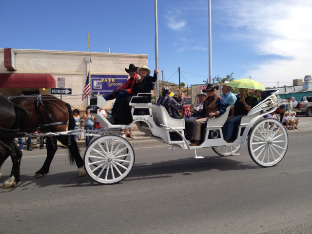 Fiesta 2021 Grand Marshall Sherry Fletcher and a Sierra County old-timers