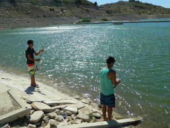 Shore fishing at Elephant Butte Lake, near the Dam Site