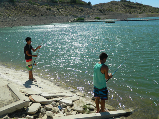 Shore fishing at Elephant Butte Lake, near the Dam Site