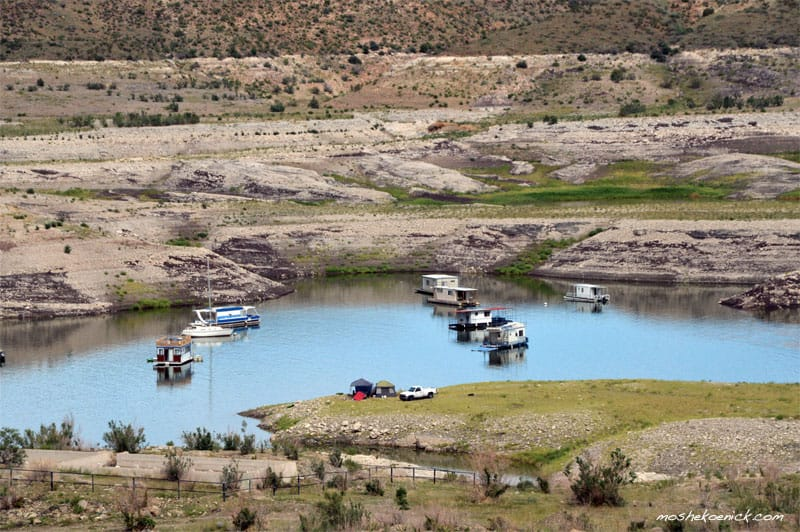 camping at Elephant Butte Lake in a low lake level year