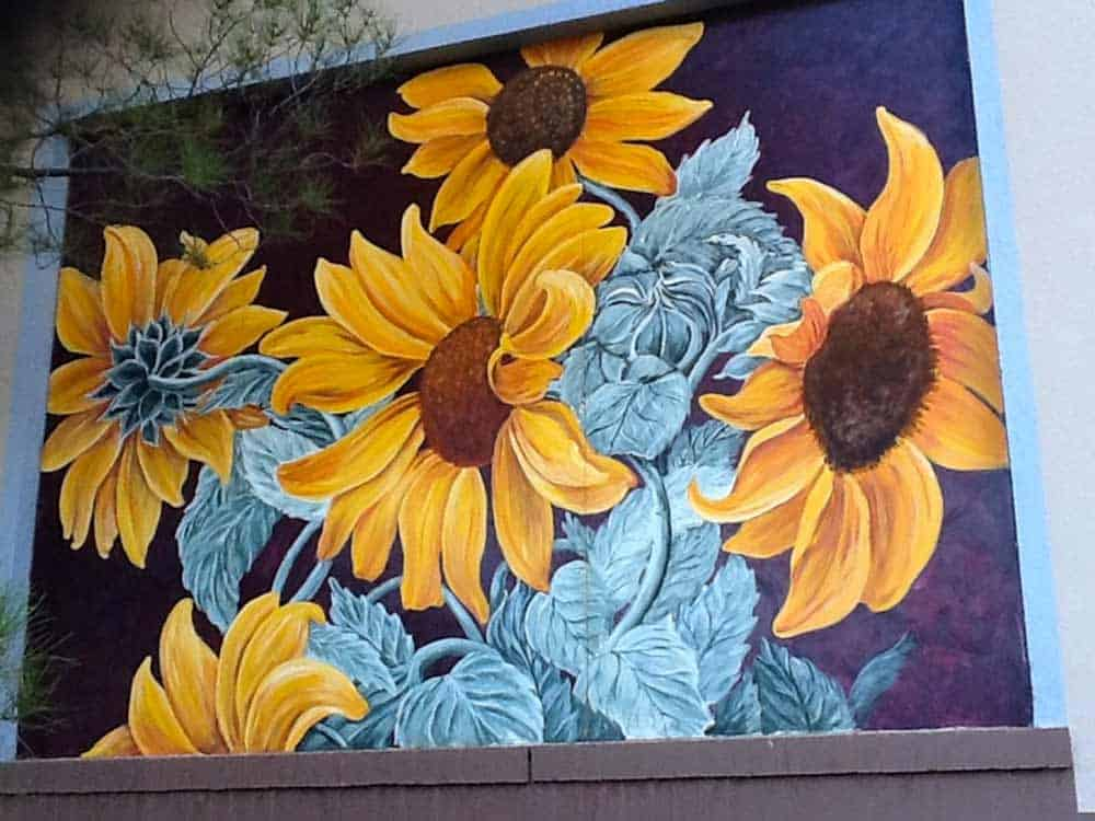 A flower mural by Delmas Howe at the Civic Center