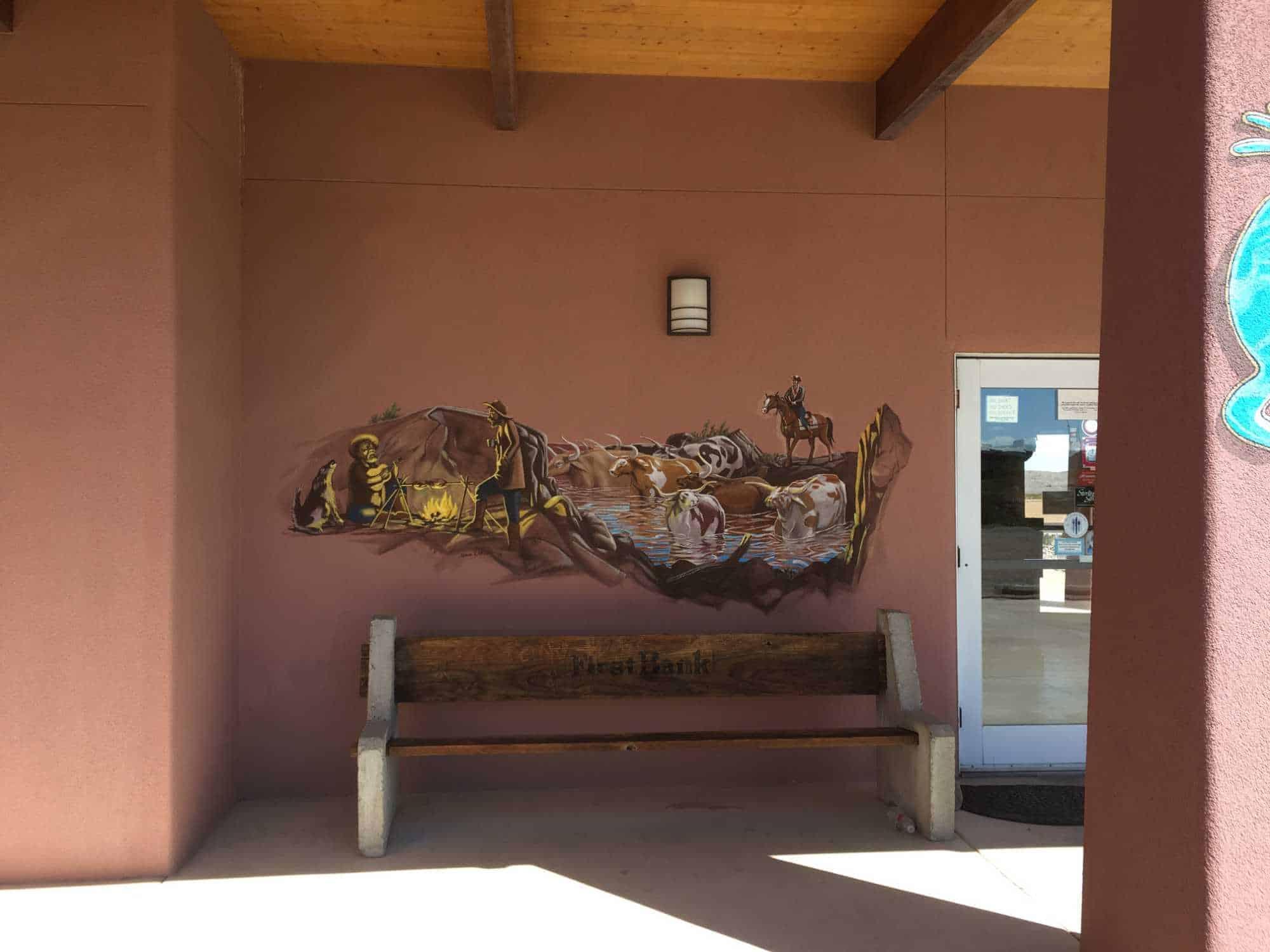 cowboys at camp - mural at La Cocina, Truth or Consequences