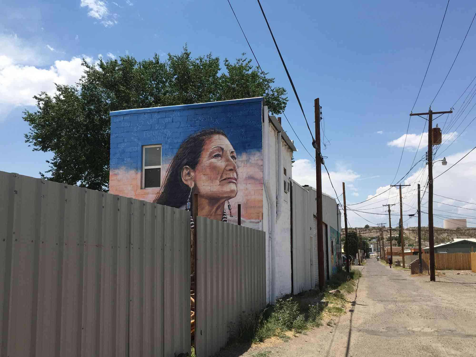 mural of Secretary of Interior Deb Haaland- Truth or Consequences alley - 500 Block of Broadway