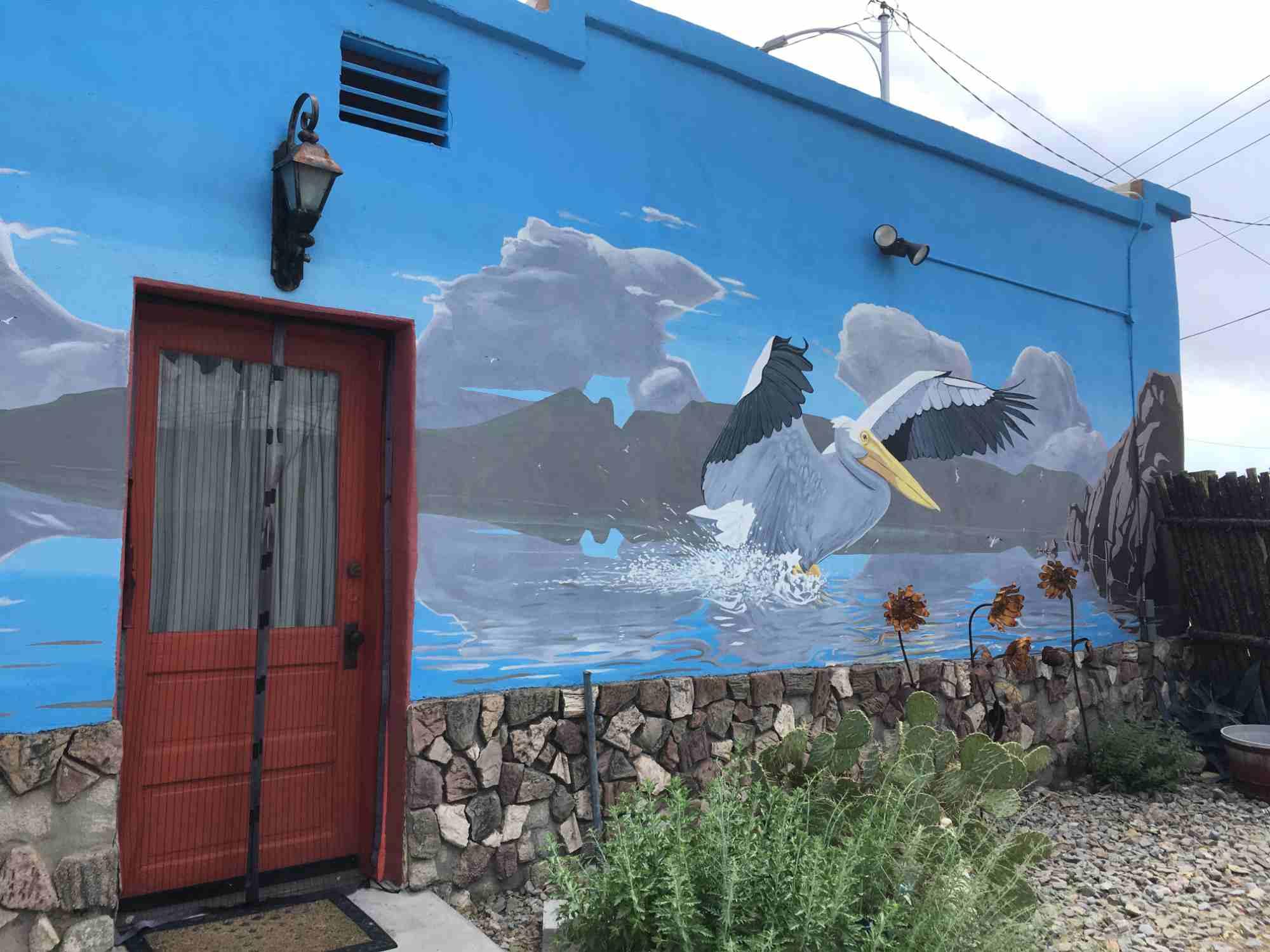 Pelican mural at Pelica Spa
