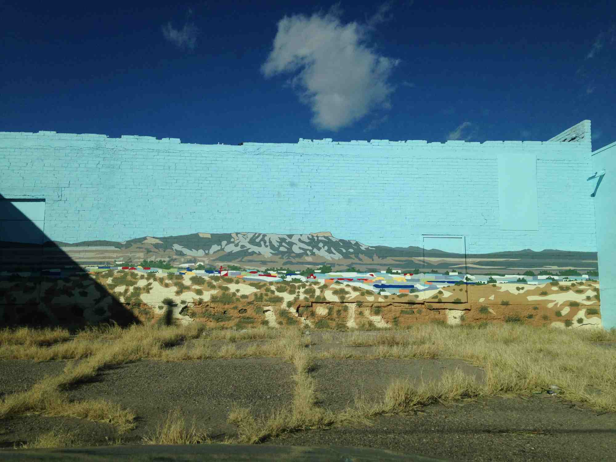 Reed Rische mural between Rio Bravo and Riverbend Hot Springs