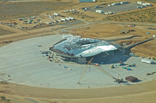 Aerial photograph of Spaceport Terminal Hangar in Southern New Mexico near Elephant Butte Lake