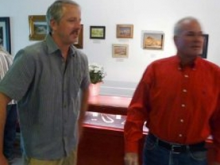 Artist Tim Smith at a gallery on Broadway