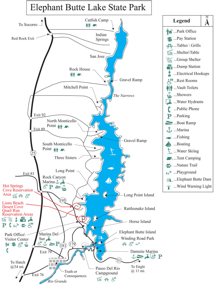 map of Elephant Butte Lake State Park in Southern NM
