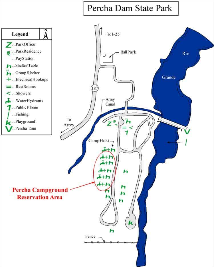 Map of Percha Dam State Park