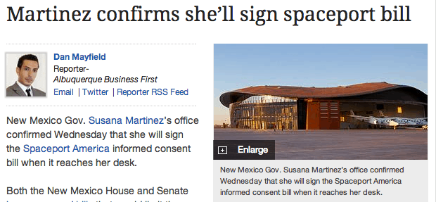 Susana Martinez will sign the Spaceport Limited Liability bill