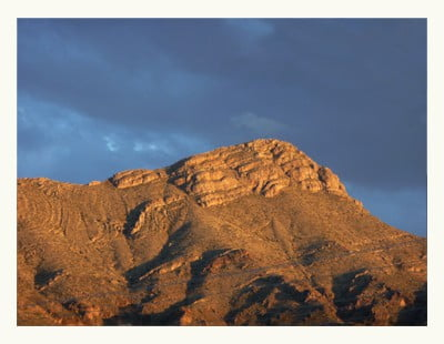 Turtleback Mountain overlooks Truth or Consequences New Mexico
