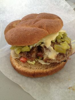green chile cheeseburger from the Elephant Butte Hamburger boat