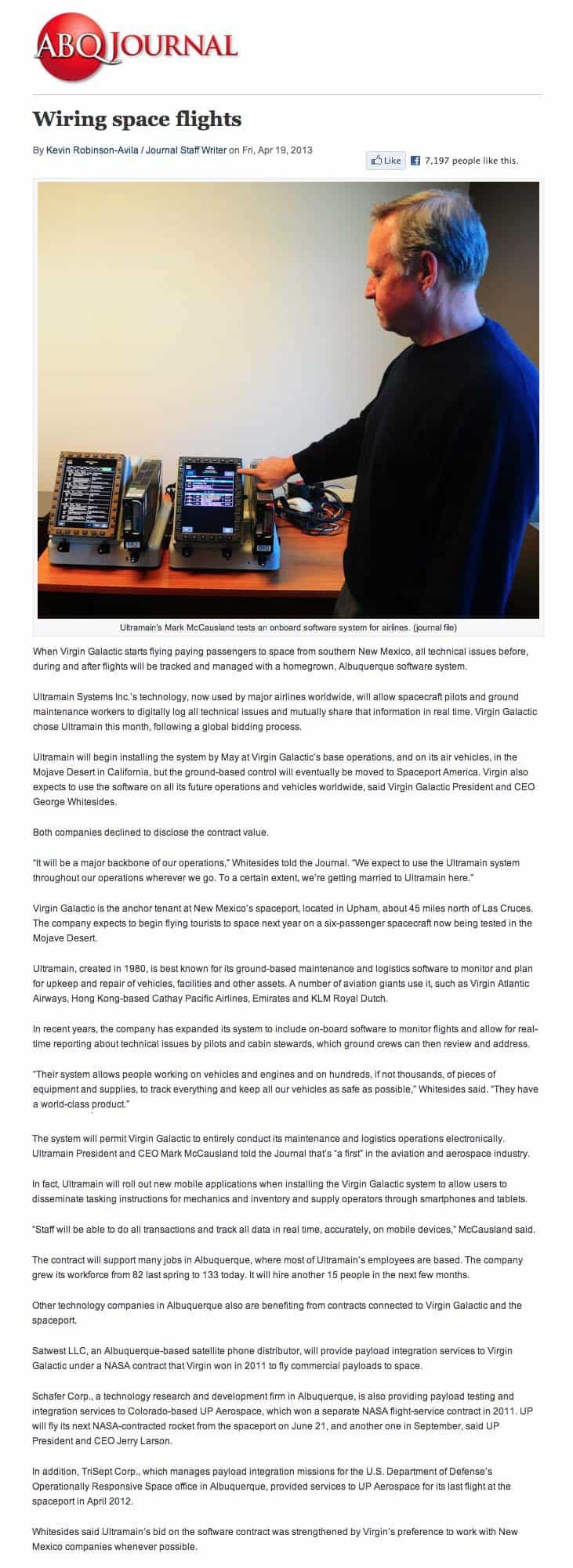 Albuquerque Business Chosen to Wire Space Flights