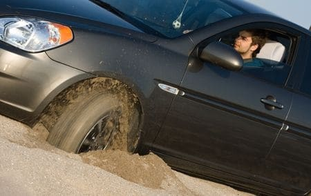 stuck in sand at Elephant Butte Lake