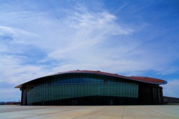 the cavernous hangar at Spaceport America