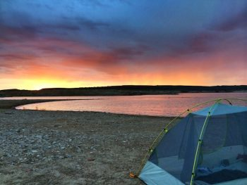 tent camping at Elephant Butte Lake State Park