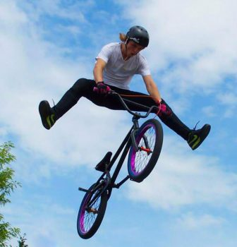 BMX rider flying high