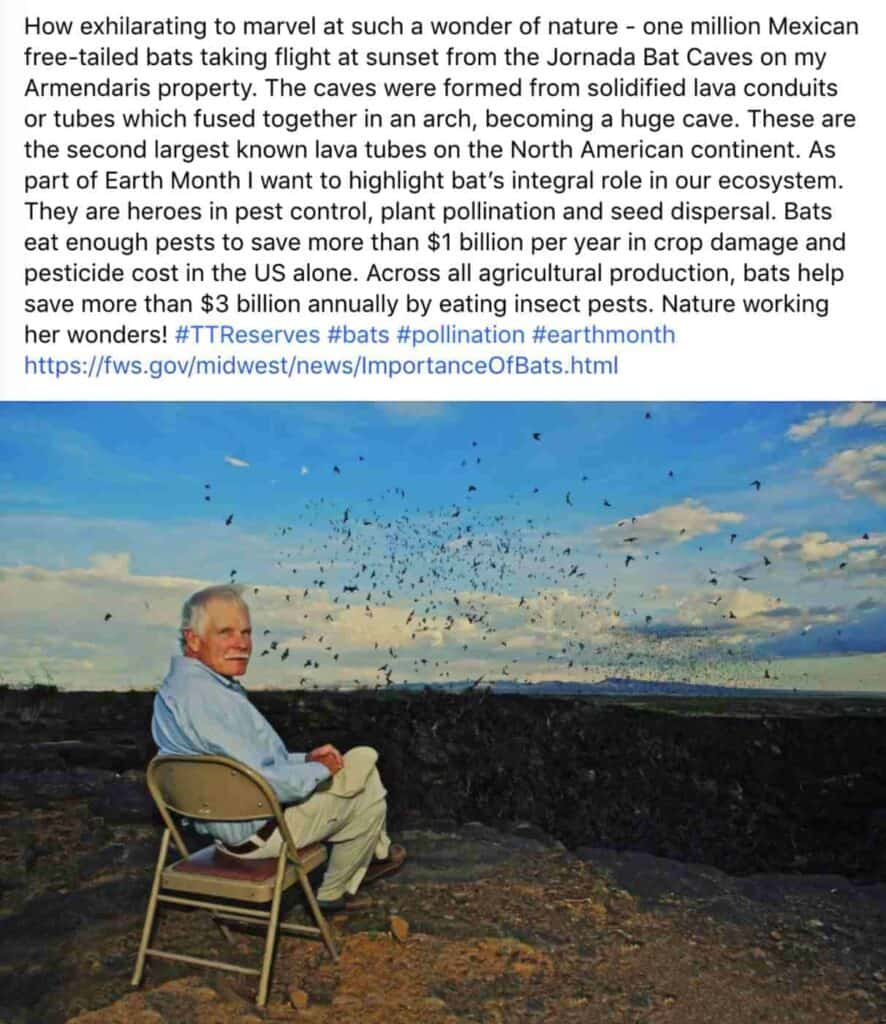 Ted Turner's Facebook post about the Bat Caves at the Armendaris
