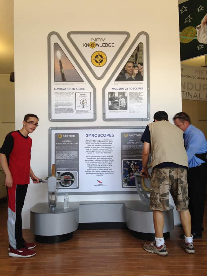 How gyroscopes work - an exhibit at the Spaceport America Visitor Center in downtown Truth or Consequences New Mexico