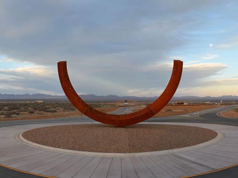 The Genesis sculpture outside Spaceport America
