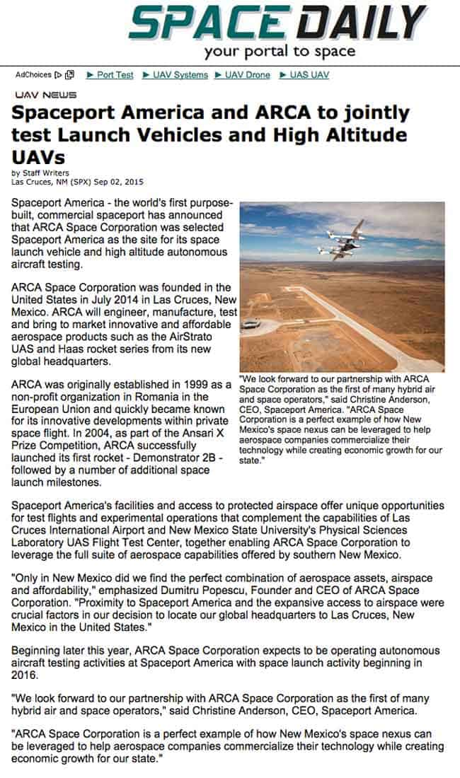 ARCA at Spaceport America