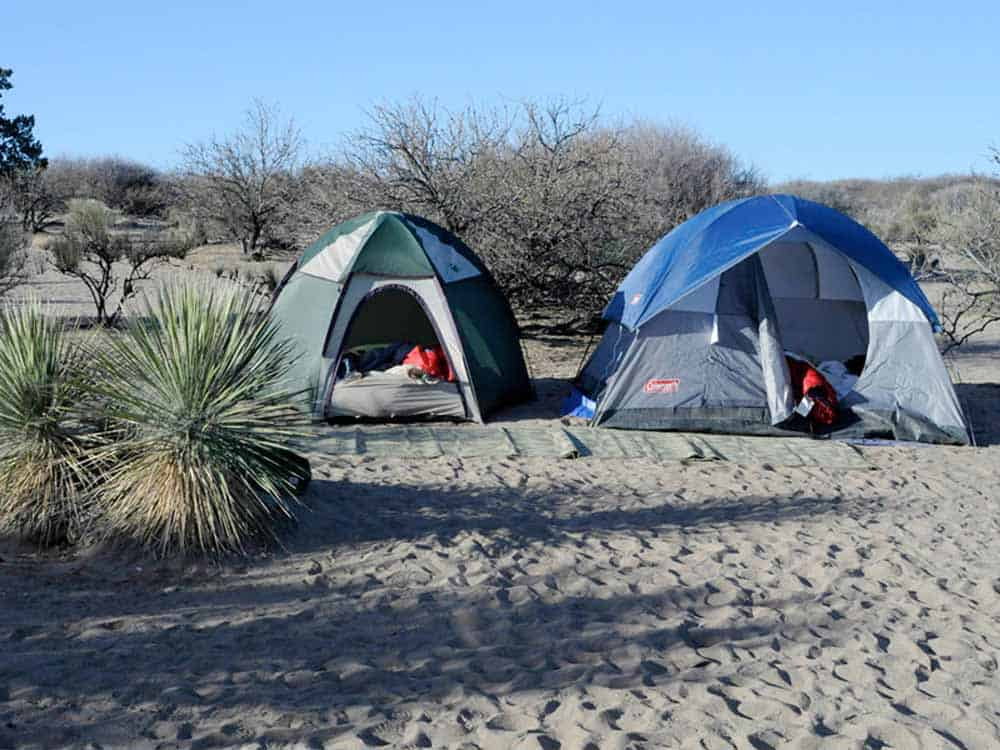 tent camping at Elephant Butte Lake