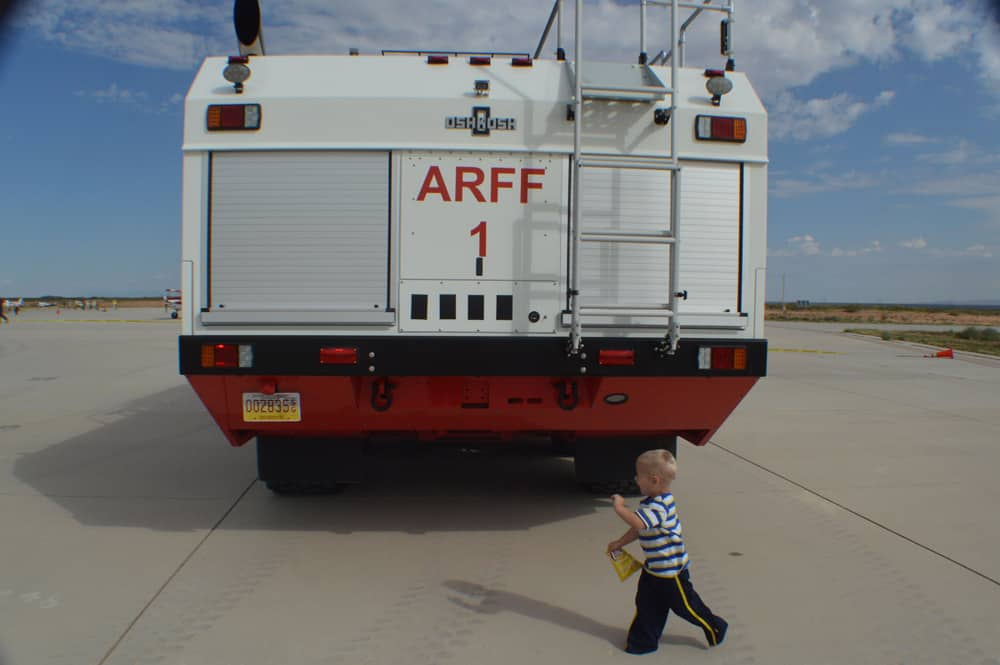 ARFF with child at Spaceport America