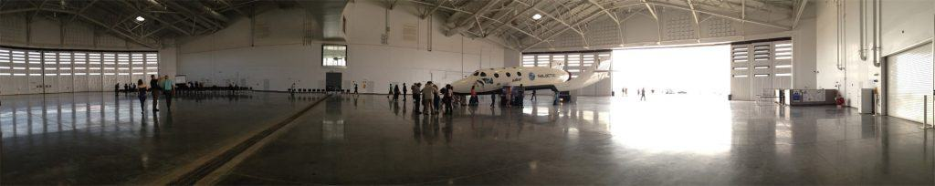 inside the hangar at Spaceport America