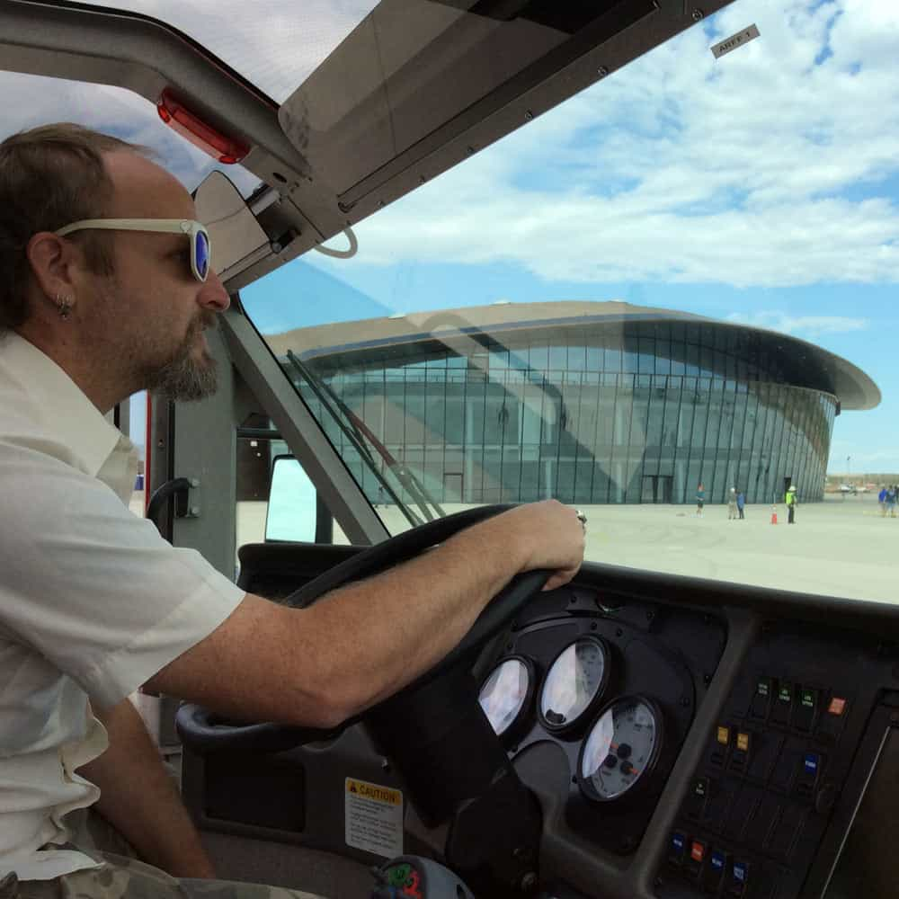 pretending to drive the ARFF at Spaceport America
