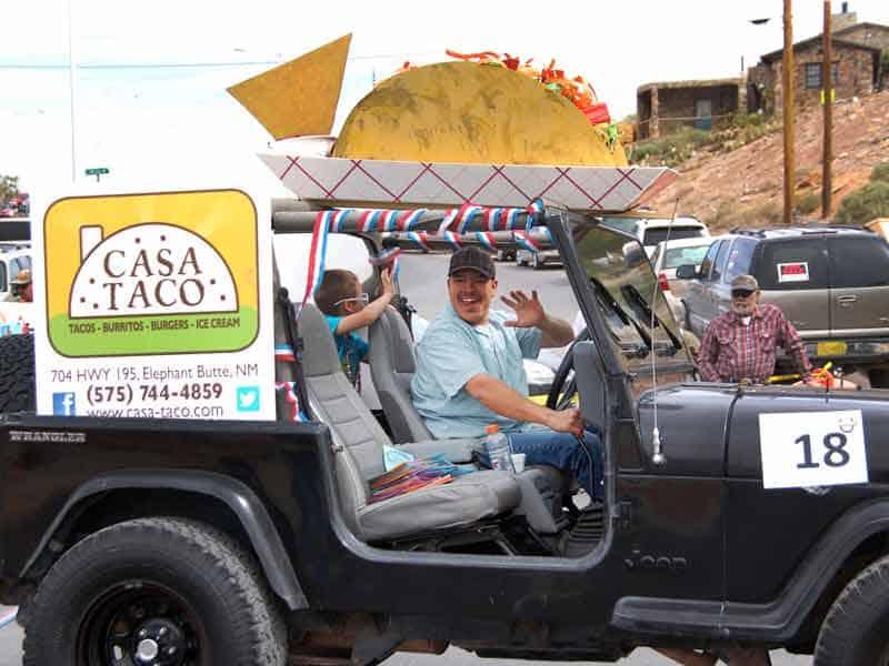 giant taco on the Casa Taco float
