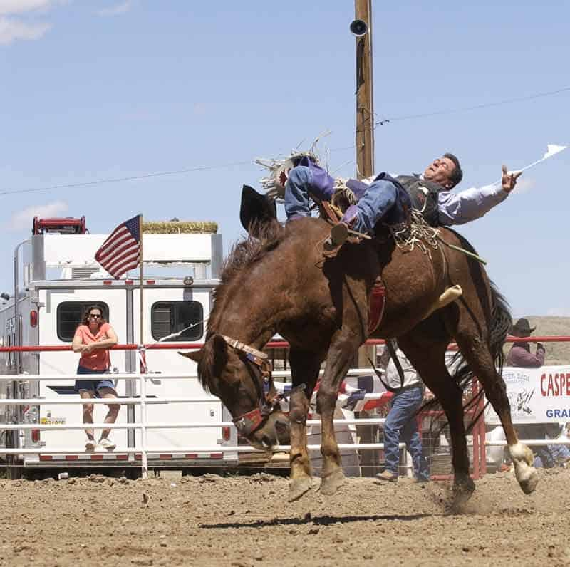 bronc riding at the Sierra County Rodeo