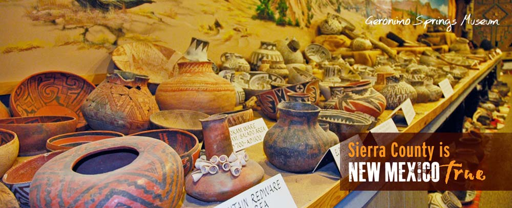 pottery collection at Geronimo Springs Museum in Truth or Consequences