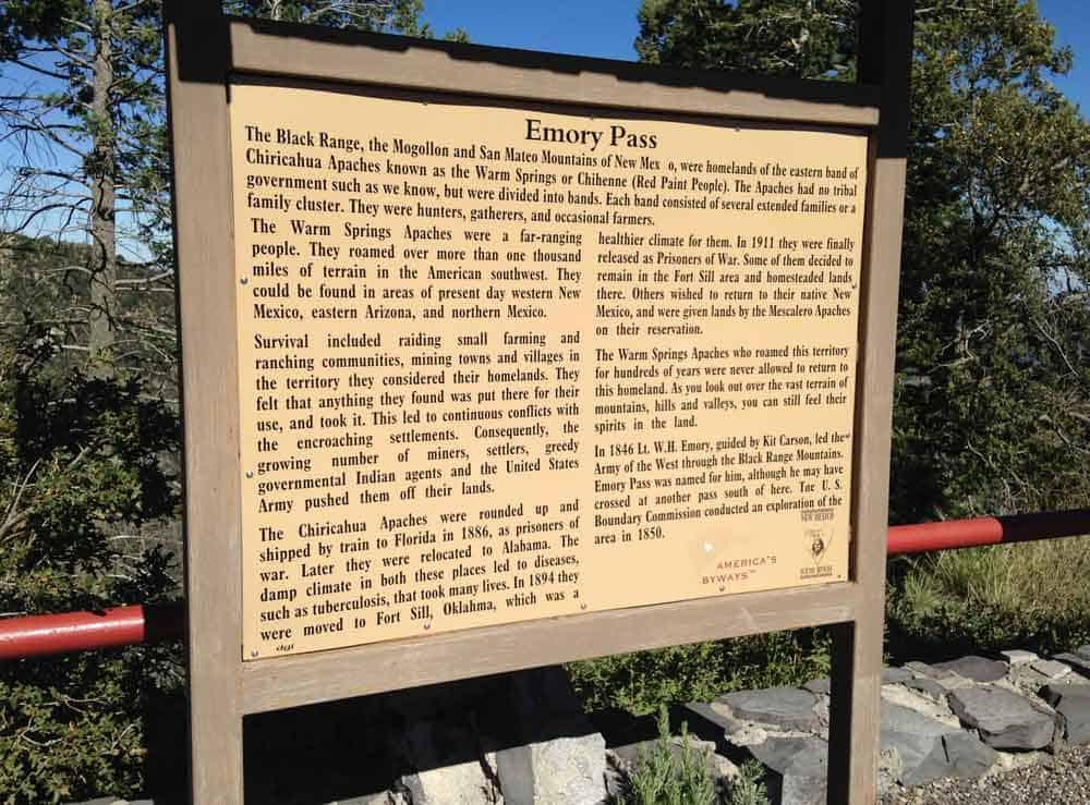 Chiricahua Apache history at Emory Pass