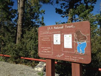 Gila National Forest sign with Smokey Bear at Emory Pass