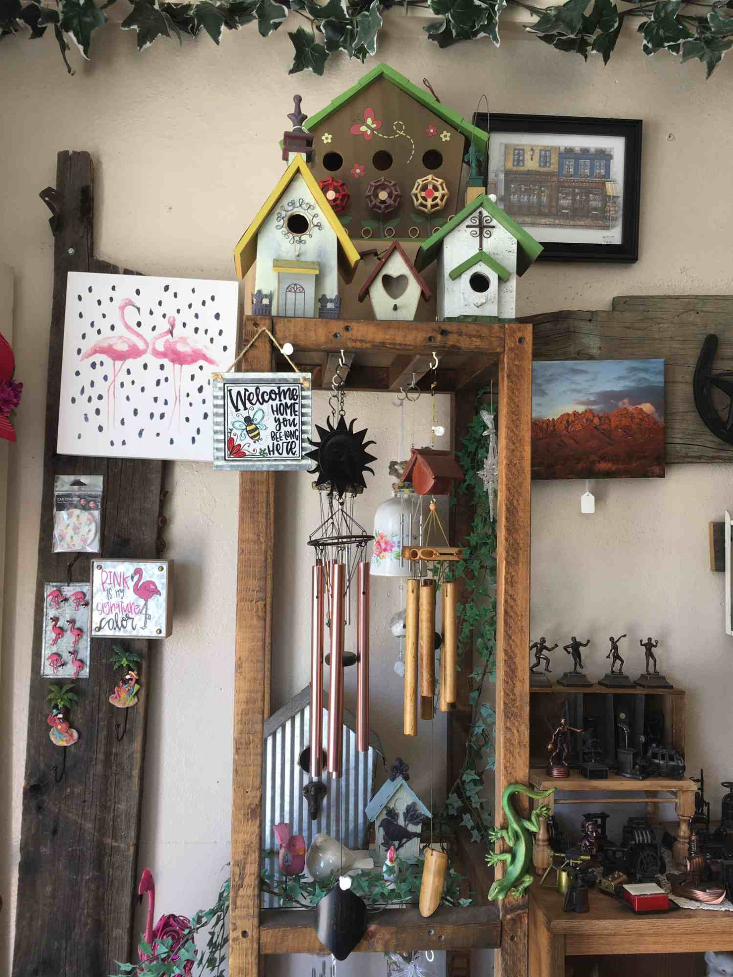 wind chimes and bird houses- A Touch of Yesterday - a collector's paradise