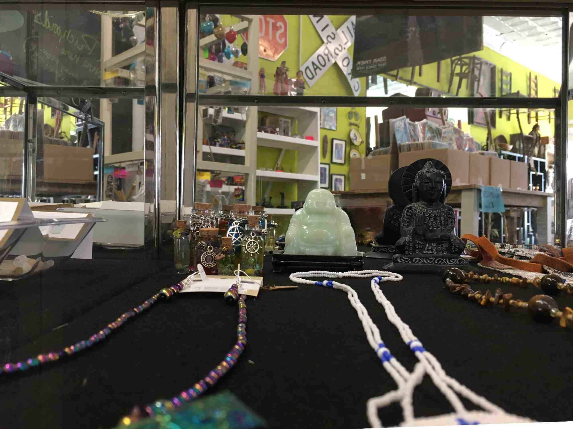 buddhas and jewelry at Vic's, downtown Truth or Consequences