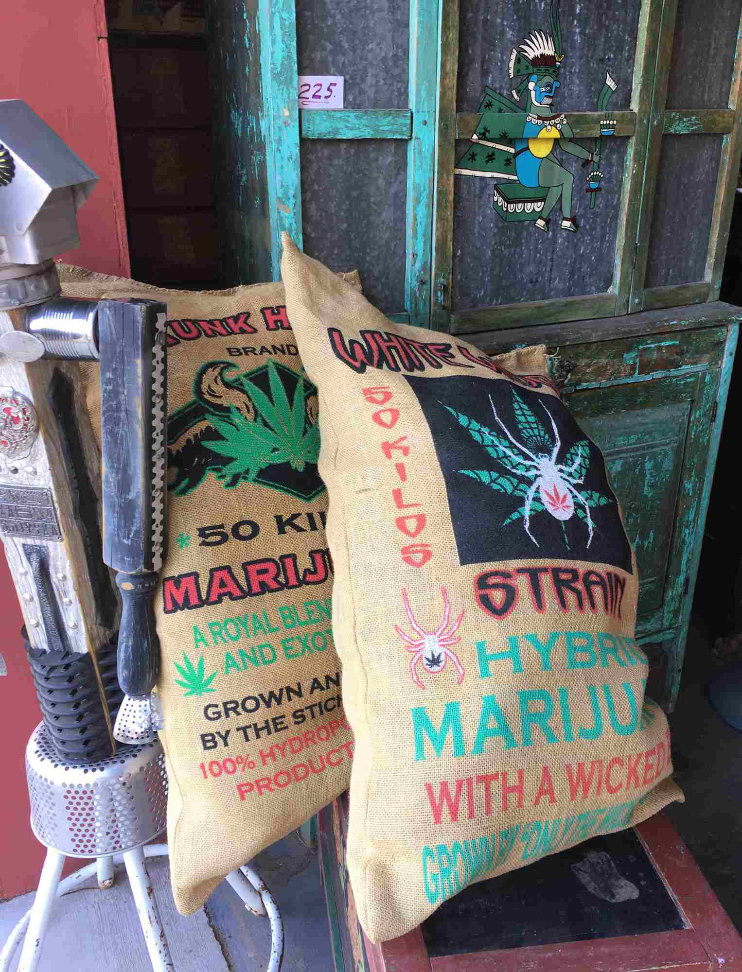 burlap ganja bags at Don's Den Truth or Consequences