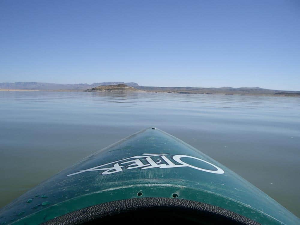 solo kayaking on Elephant Butte Lake