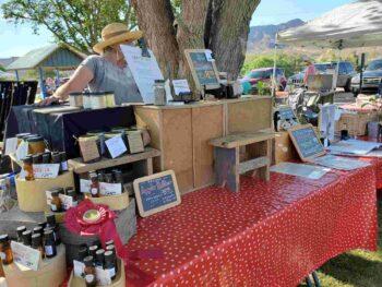 Sierra County Farmers Market apple butter and herbs
