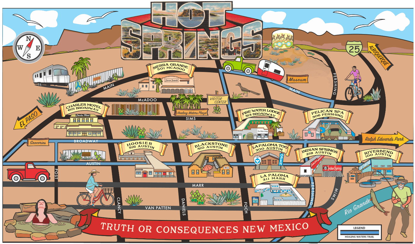 map of the 10 hot springs in Truth or Consequences New Mexico