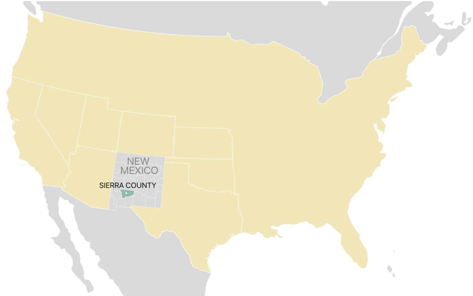 map of Sierra County New Mexico USa