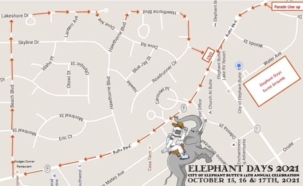 map for Elephant Days 2021, Elephant Butte NM