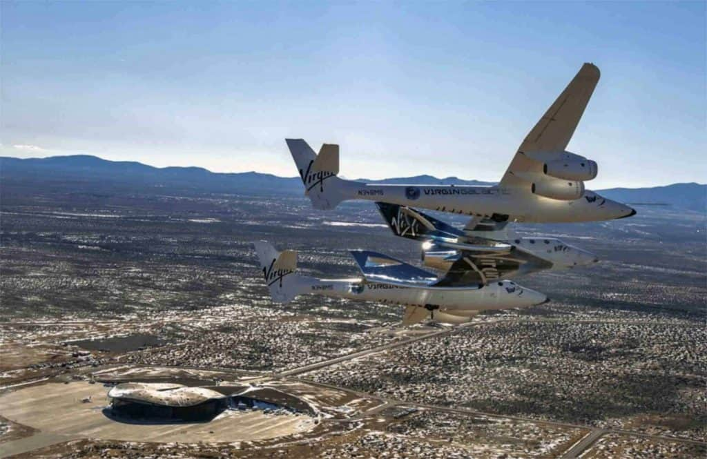VSS Unity arriving at Spaceport America near Truth or Consequences NM