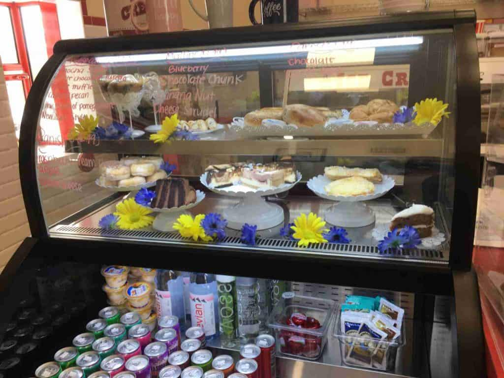 pastry case at Coffee Express in Truth or Consequences