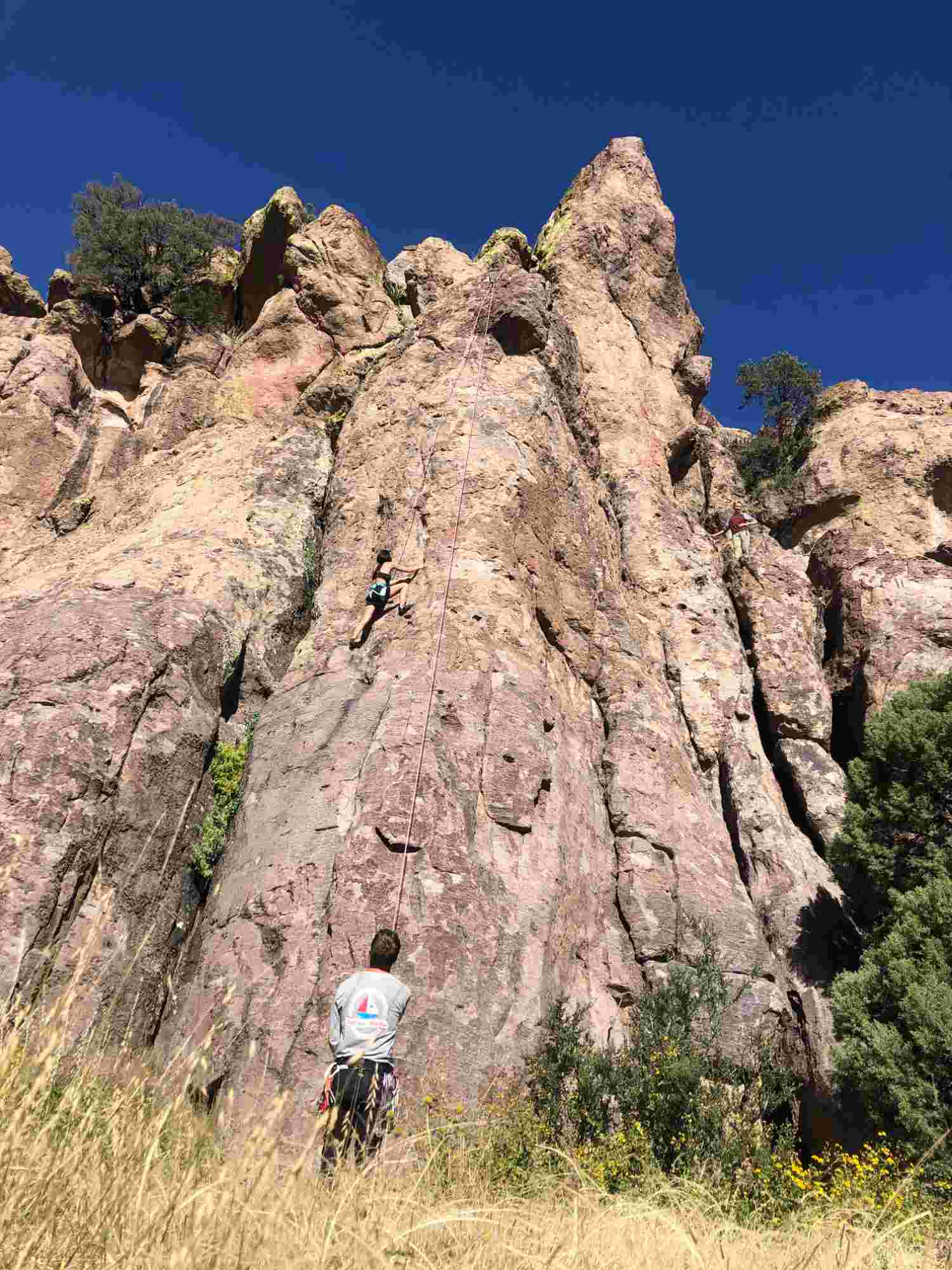 Climbing Moonstruck on top rope at Luna Park